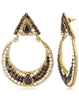 Tribal Zone Drop Earrings for Women (Golden, Black and White) (VDER026)