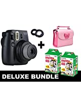 Fujifilm Instax Mini 8 - Black + 40 Pack Instax Film + Butterfly Pink Gm Bag + Black Selfie Mirror