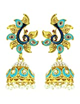 Peora Swirl Peacock Pearl Jhumkis for Women (Sky Blue)
