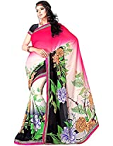 Shree Bahuchar Creation Women's Chiffon Saree(Skb38, Pink and Black)