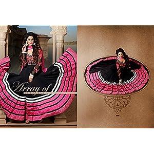 Dani fashions stunning black and rush semi stitched anarkali suit