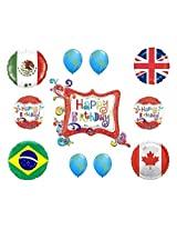 International Flags Happy Birthday Balloon Decorations Kit