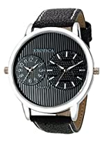 Exotica Analog Black Dial Men's Watch (EF-55-Dual-LS-B)