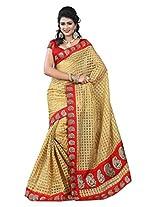 Vibes Women's Bhagalpuri Art Silk Saree,With Blouse (S54-VBK143_Golden)