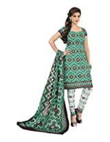 Sonal Trendz Women's Cotton Green Printed Dress Material