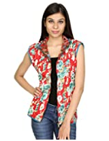 Rajrang Women's Reversible Light Weight Printed Machine Quilted Short Jacket Dress (red, Blue, X-Large)