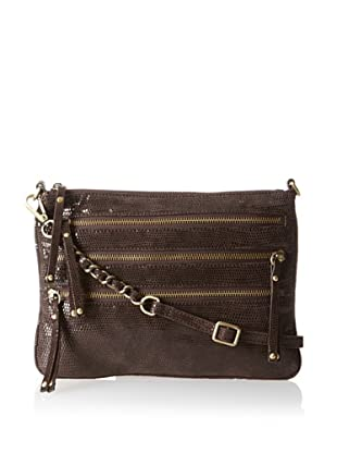 Chez by Cheryl Women's Lucia Zipper Cross-Body, Brown Solid