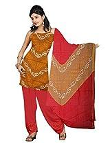 Kala Sanskruti Women's Cotton Satin Bandhani Rust Dress Material