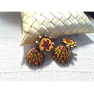 Artistri Mango Yellow and Flame Red Jhumkas with Paisley Studs