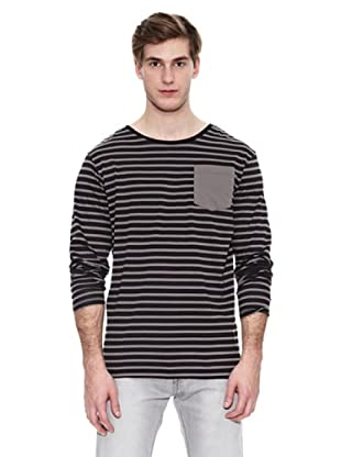 Springfield Camiseta Str Ml Marinera Pocket (Negro / Gris)