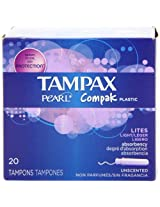 Tampax Pearl Compak Plastic, Lites / Light Absorbency, Unscented Tampons, 20 Count (Pack of 3)