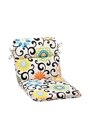 Pillow Perfect Indoor/Outdoor Pom Pom Play Lagoon Rounded Chair Cushion, Black/Blue