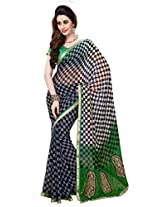 Texclusive Women's Georgette Saree with Blouse Piece (Multi-Coloured)