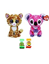 Ty Bundle Set Of 2 Small 6 Beanie Boos Plush Toys Tabitha The Cat And Kacey The Pink Koala With Bonus Two Fruit Scented Erasers