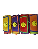 (Set of 10) Birthday Return Gift Smiley Smiley with three chains and a Flap Art cotton Pencil Boxes