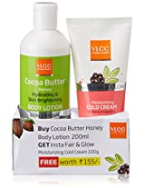 VLCC Insta Fair, 100g and Glow Cold Cream with Cocoa Butter Body Lotion, 200ml