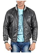 Adi & Adi Men's Faux Leather Jacket (gh520_2, Grey, XL)