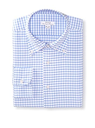 Orian Men's Slim Fit Washed Checked Oxford Dress Shirt (Blue)