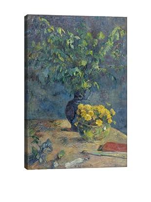 Paul Gauguin's Deux Vases De Fleurs Et Un Eventail (1885) Giclée Canvas Print
