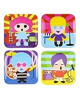 French Bull - BPA Free Children's Dinner Set - 8-Inch Melamine Kids Plate Set - Rock Star, Set of 4