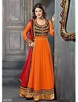Heenaz Orange Designer Semi Stitched Anarkali Suit