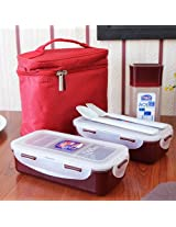 Clear & Red Lunch Box With Bag Set of Four Pieces from Lock & Lock