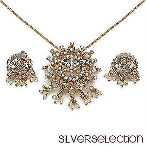 Silver Selection American Diamond Brass Pendant Set