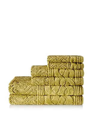 Espalma 6-Piece Chainlinks Towel Set, Deep Citron