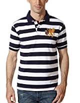 Peter England Striped Slim Fit Polo Tee