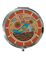 3 Inch Blue Red and Pink Mom Compact with 2 Blue Birds