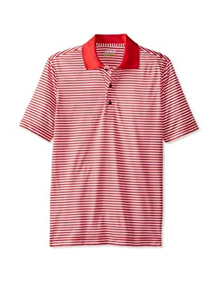 IZOD Men's Feeder Stripes Golf Performance Shirt (Lollipop Red)
