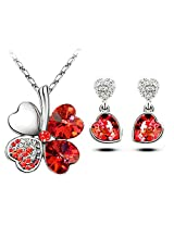 Elegant Austrian Crystal Lucky Clover Red Pendant & Earring Set - By ETERNO FASHIONS(TM)