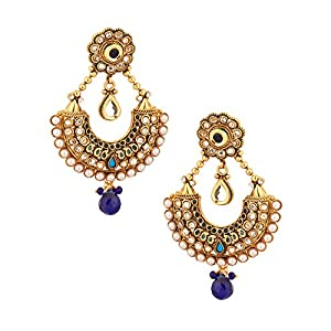 Voylla Dangler Earrings In Crescent Shape With Blue Stones [Jewellery]