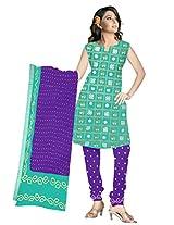 Kala Sanskruti Women Cotton Satin Bandhani Light Sea Green Dress Material
