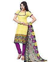 Krisha Print Women's Unstitched Dress Material (Yellow_Free Size)