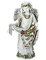 Roman Josephs Studio Inspirational Girl Angel Wearing Floral Trimmed Gown with Birds Garden Statue, 16.5-Inch