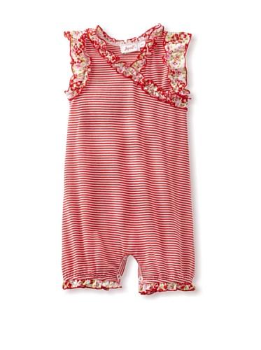 Jupon Baby Carli Short Sleeve Ruffled Romper (Red)