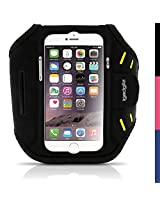 iGadgitz Black Water Resistant Lightweight Neoprene Sports Jogging Gym Armband for Apple iPhone 6 & 6S 4.7 with Key Slot