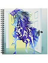 3dRose db_60104_1 Stallion Digital Horse with a Brilliant Door Background Drawing Book, 8 by 8-Inch