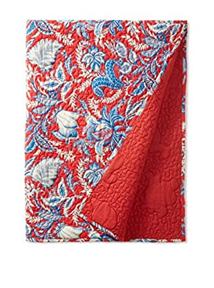 North Rodeo Collection Floral Block Hand Stitched Throw, Red