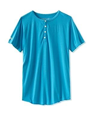 Spenglish Men's Short Sleeve Henley (Neon Blue)
