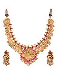 Jeweleteria Jade Stones Gold Plated Metal Alloy Necklace Set For Women - B00MGRGFJA