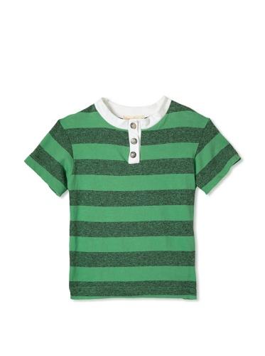 Upper School Boy's Grey Stripe Henley (Green)