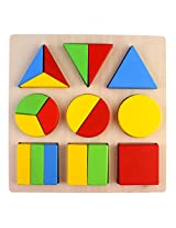 PIGLOO Wooden Geometric Shapes Sorter Blocks Puzzle for Children Ages 3+ Years