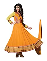 Sanchey Orange Georgette Anarkali Dress Material