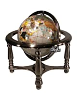 Unique Art 10-Inch Tall Pearl Swirl Ocean Gemstone World Globe with 4 Leg Silver Stand