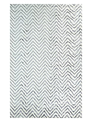 nuLOOM Hand Knotted Luxurious Chevron Kelli Rug, Grey, 5' x 8'