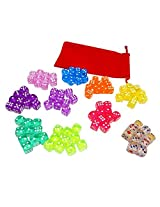 100 Translucent Colored Dice Set From Visual Elite Bringing Fun to a Game or Learning Math Set Contains Green,Yellow, Rose, Purple, Orange, Pink, Cyan, Blue, Red, and Crystal Six Sided Dice With Bag