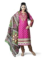 Rajnandini Women's Pink colour pure cotton Printed Unstitched salwar suit Dress Material (Free Size)