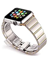 Apple Watch Band, Stainless Steel Classic Buckle Watch Strap Band Replacement Metal Clasp for Apple Watch Iwatch (OMIGA Rose Gold 38mm)